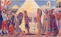Cortez and the Aztec emperor