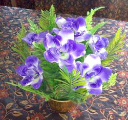 open half round flower arrangement