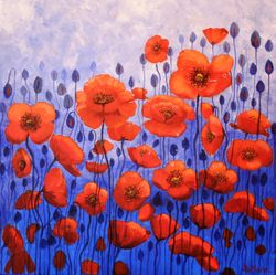 poppies feeling Blue. 40x40cm Acrylics on canvas