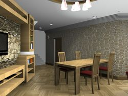 Interior arrangement for a living room.