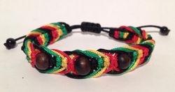 Shamballa jamaique bob marley rouge vert jaune noir bois
