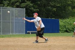 Rick pitching for team Attleboro PD