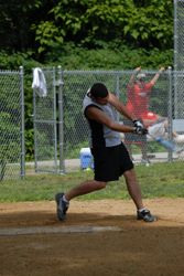 Mike takes a swing