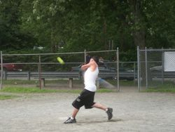 Dustin during the homerun derby