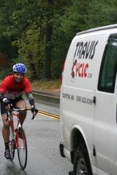 Scott drafting the Travis Cycle van
