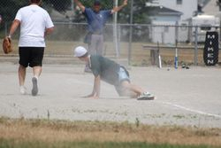 Andrew sliding into first......safe!