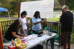 Registration table with Lorraine, Amy & Deena