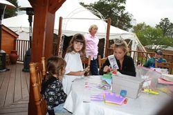 Miss Massachusetts, Molly Whalen, making crowns with the kids
