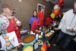 Contestants decorated their stations to go with their chili theme