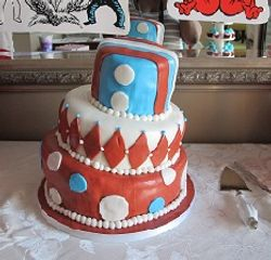Dr. Seuss themed birthday cake (Cat in the Hat)