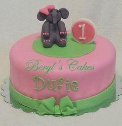 Baby Elephant 1st Birthday Cake