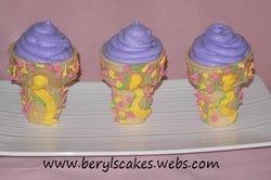 Rapunzel Ice Cream Cone Cupcake