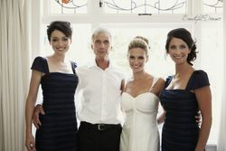 Beth with her bridesmaids  and father.