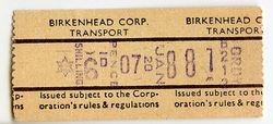 Birkenhead Corporation bus ticket