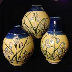 Ball Vases painted iris