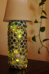 Mosaic Wine Bottle Lamp - Green Glass