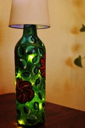 Painted Wine Bottle Lamp (1)