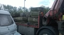 Unloading is getting started, some 20 tons to move.