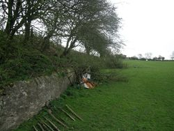 A view of the retaining wall from the field side.