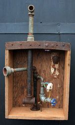 Junk Skull-pture Box Lamp with Pipes