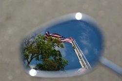 Flag on aerial ladder