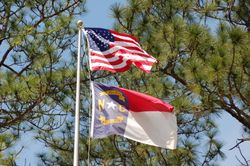 Old Glory, the Longleaf, and the Tar Heel Flag