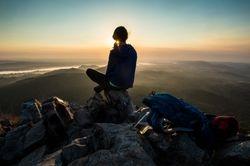 Hiker at Pinnacle Mountain State Park
