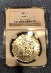 1887-S (MS 63) U.S. Morgan Silver Dollar