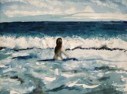 """Cold Sea   Water Colour  16 x 12"""""""