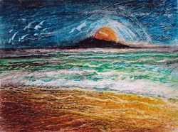 """Out of the Sun  Oil Pastel   12 x 9"""""""