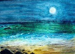 "Sea Moon   Oil Pastel   12 x 9"""