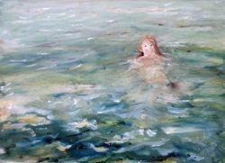 "Sea Nymph     Water Colour 13 x 10"""