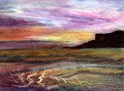 """Silent Harbour  Oil Pastel  12 x 9"""""""