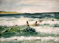 """Surf People   Water Colour  14 x 10"""""""