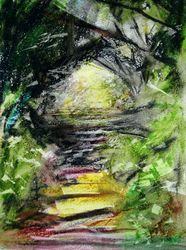 """End of the Tunnel  Oil Pastel  12 x 9"""""""