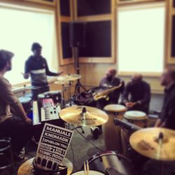 getting it in at music garage reharsal space for manuals headed by gabe manuals wallace on drums