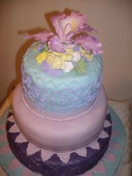 Orchid and spring flowers Cake