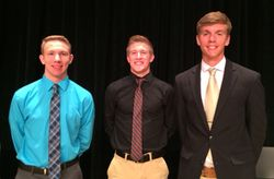 2015 Class of 1975 Scholarship Recipients - (l-r) Nicholas Hudson, Noah Cline & Spencer Herrington