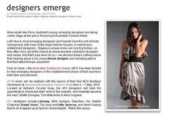 Let's Shop article on Rosemount Australia Fashion week. 2010