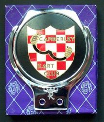 CAMBERLEY KART CLUB CAR BADGE - Belong to a Robin Richards BBC commentator of motorsport