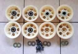 4 NEW 5'' NYLITE FRONT & REAR WHEELS WITH BEARING BOLTS & WASHERS