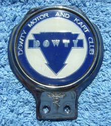 SECOND DOWTY MOTOR AND KART CLUB CAR BADGE