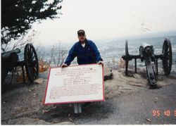 My dad with an Alabama battery on the top of Lookout Mountain