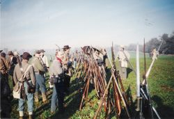 The Confederate army finally arriving at the second battle at Spring Hill