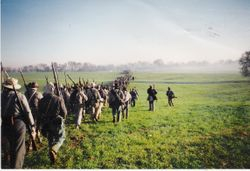 The Confederate army marching to the location of the second day's battle at Spring Hill