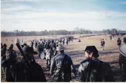 The Confederate army retreating after the first day's battle