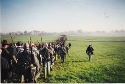 The Confederate army still marching to the location of the second day's battle at Spring Hill.