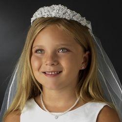 Childrens White Pearl & Rhinestone accent