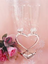 Joined Heart Wedding Toasting Champagne Flutes