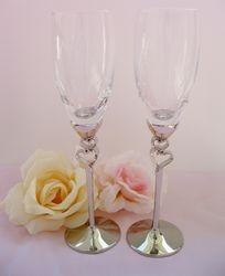 Elegant Heart Stem Wedding Toasting Flutes